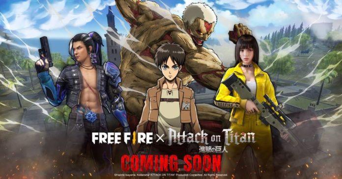 Free Fire revela colaboración con Attack on Titan